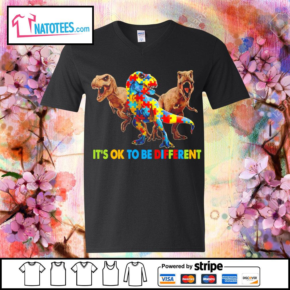 Dinosaurus T-rex it's ok to be different Awareness s v-neck-t-shirt