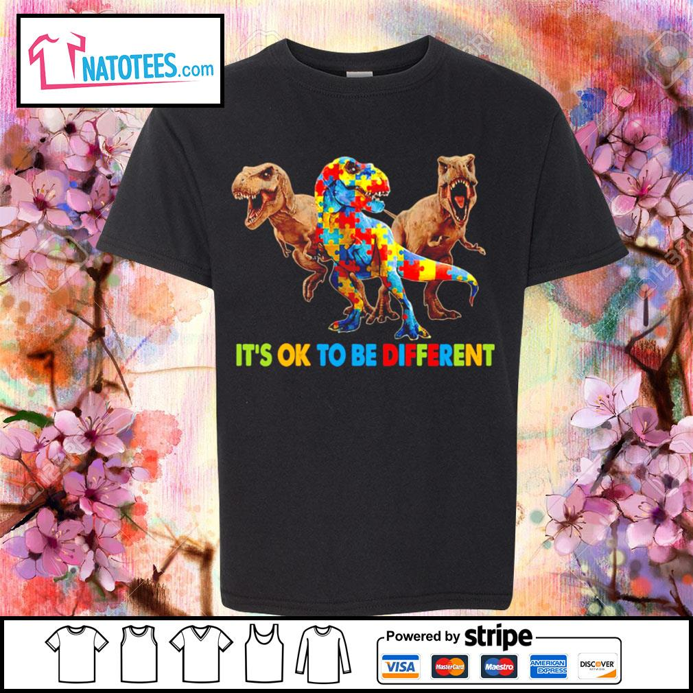 Dinosaurus T-rex it's ok to be different Awareness s youth-tee