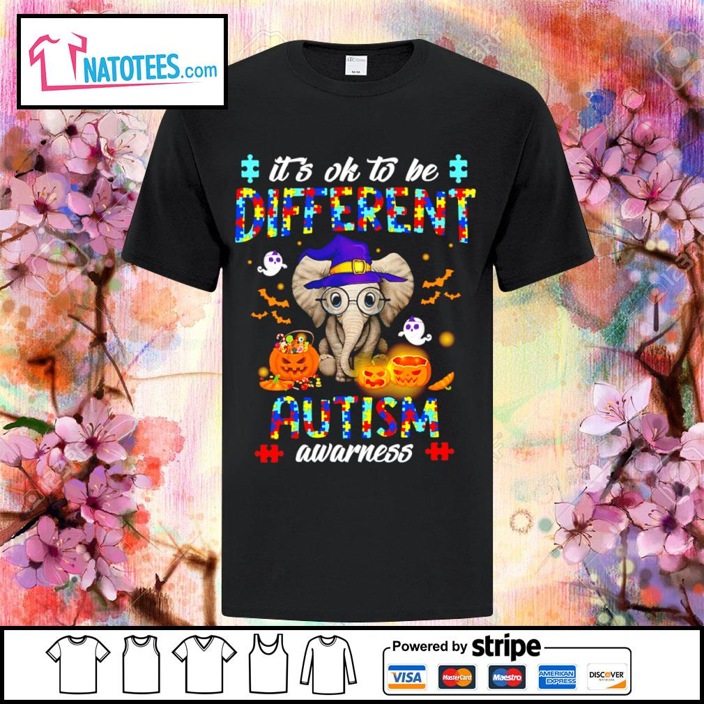 Halloween Elephant it's ok to be different autism awarness shirt