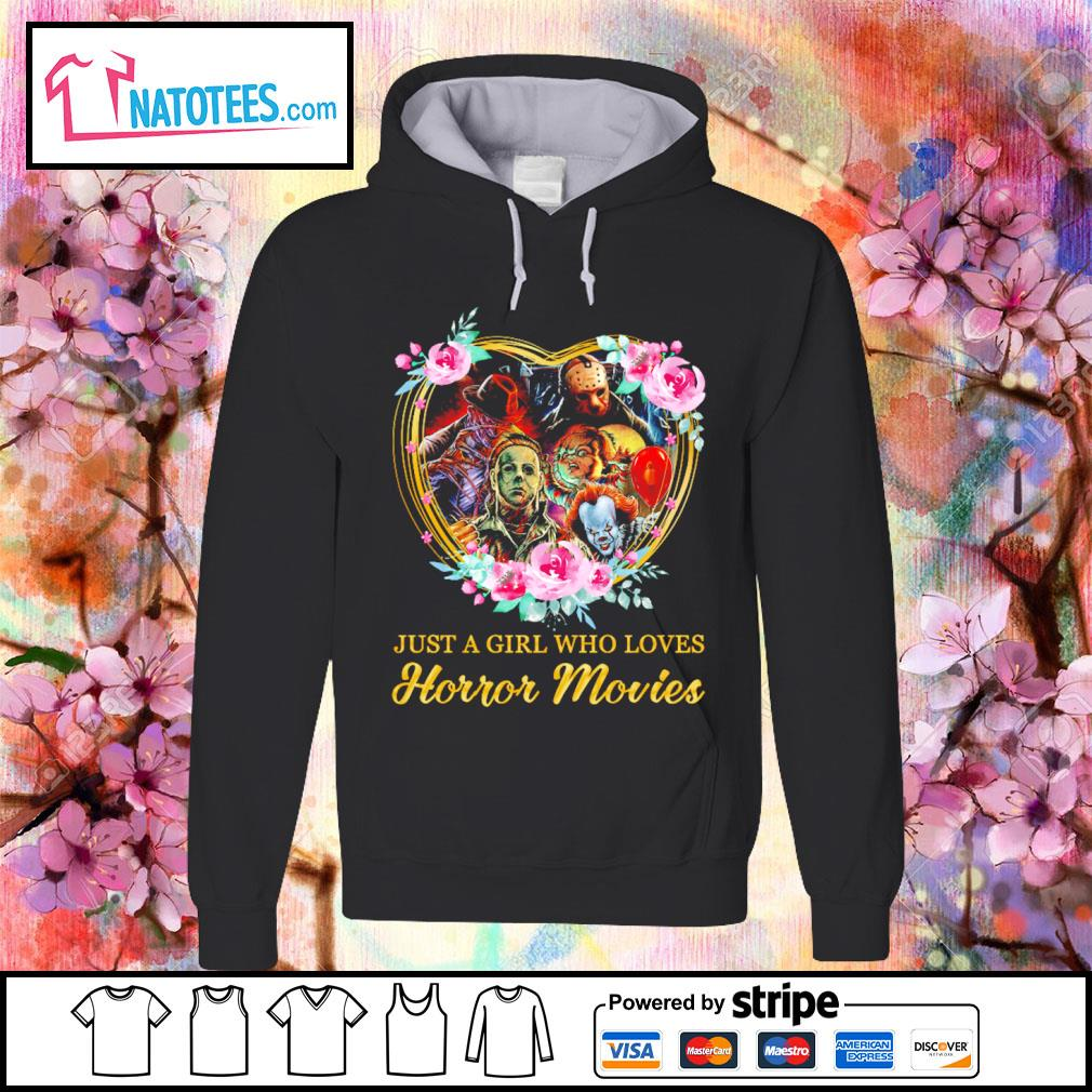 Halloween just a girl who loves horror movies flowers heart s hoodie