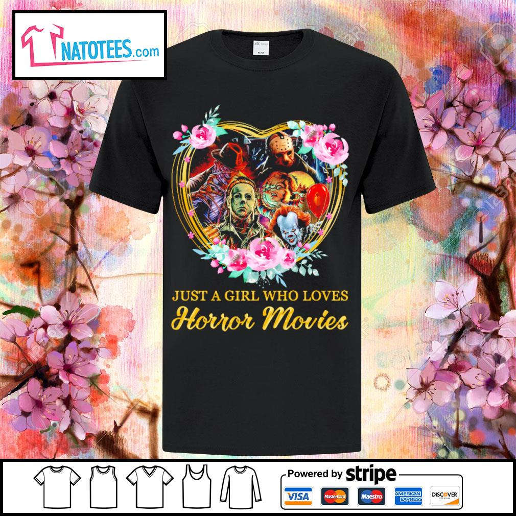 Halloween just a girl who loves horror movies flowers heart shirt