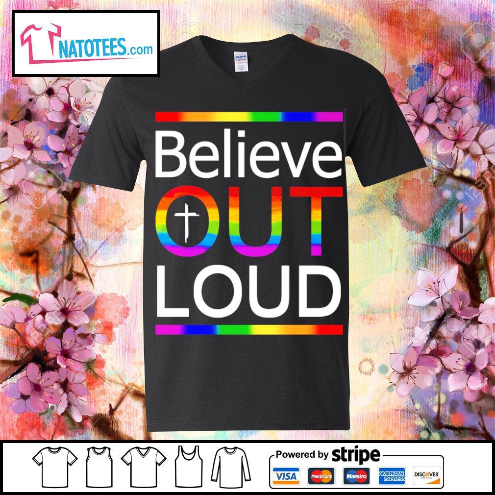 LGBT believe out loud s v-neck-t-shirt