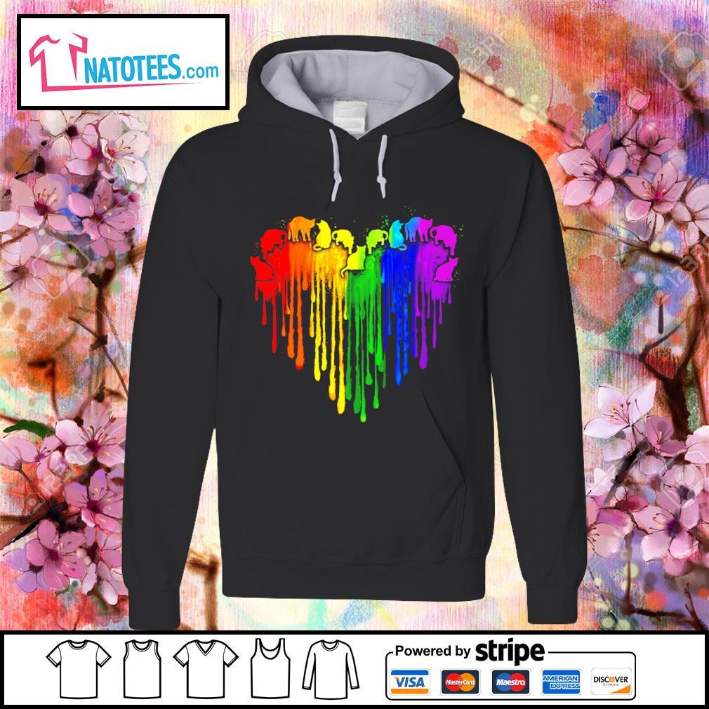 Lgbt cat watercolor heart s hoodie