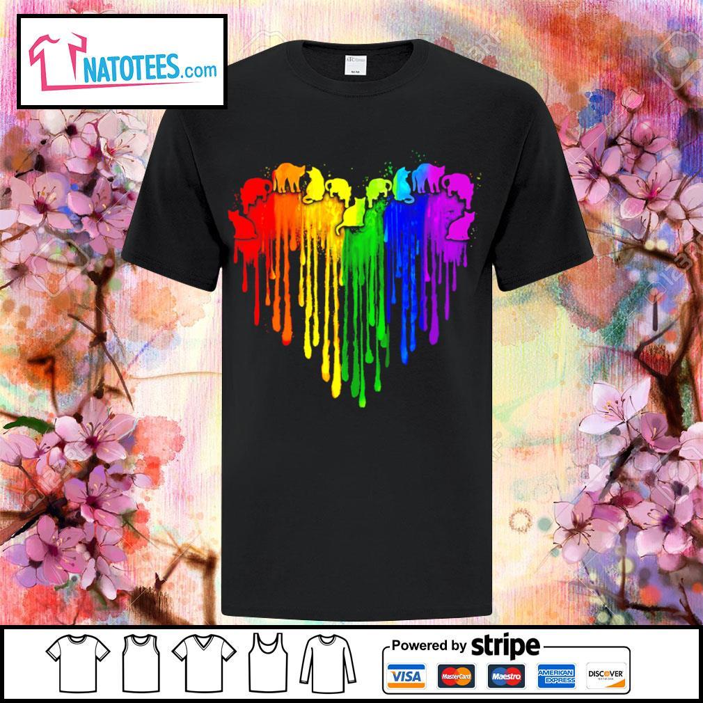 Lgbt cat watercolor heart shirt