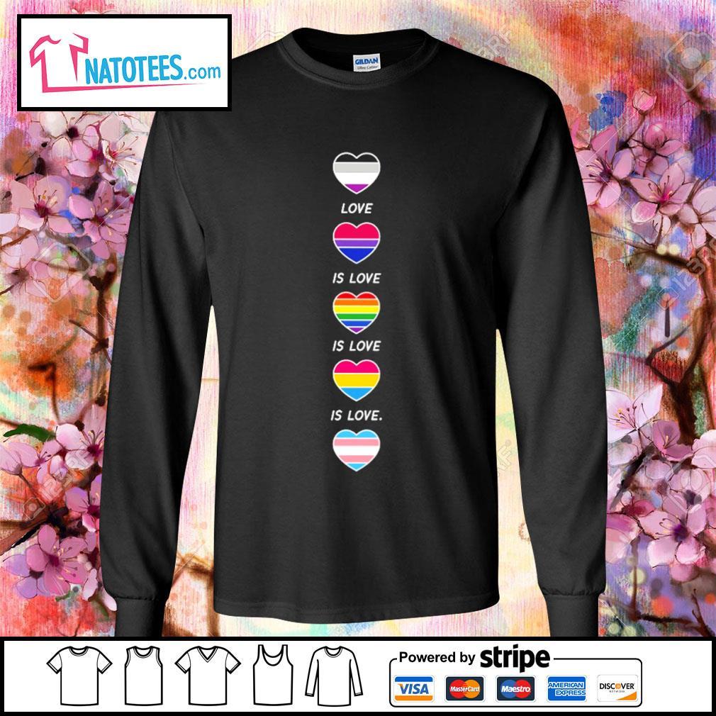 LGBT rainbow heart love is love s longsleeve-tee