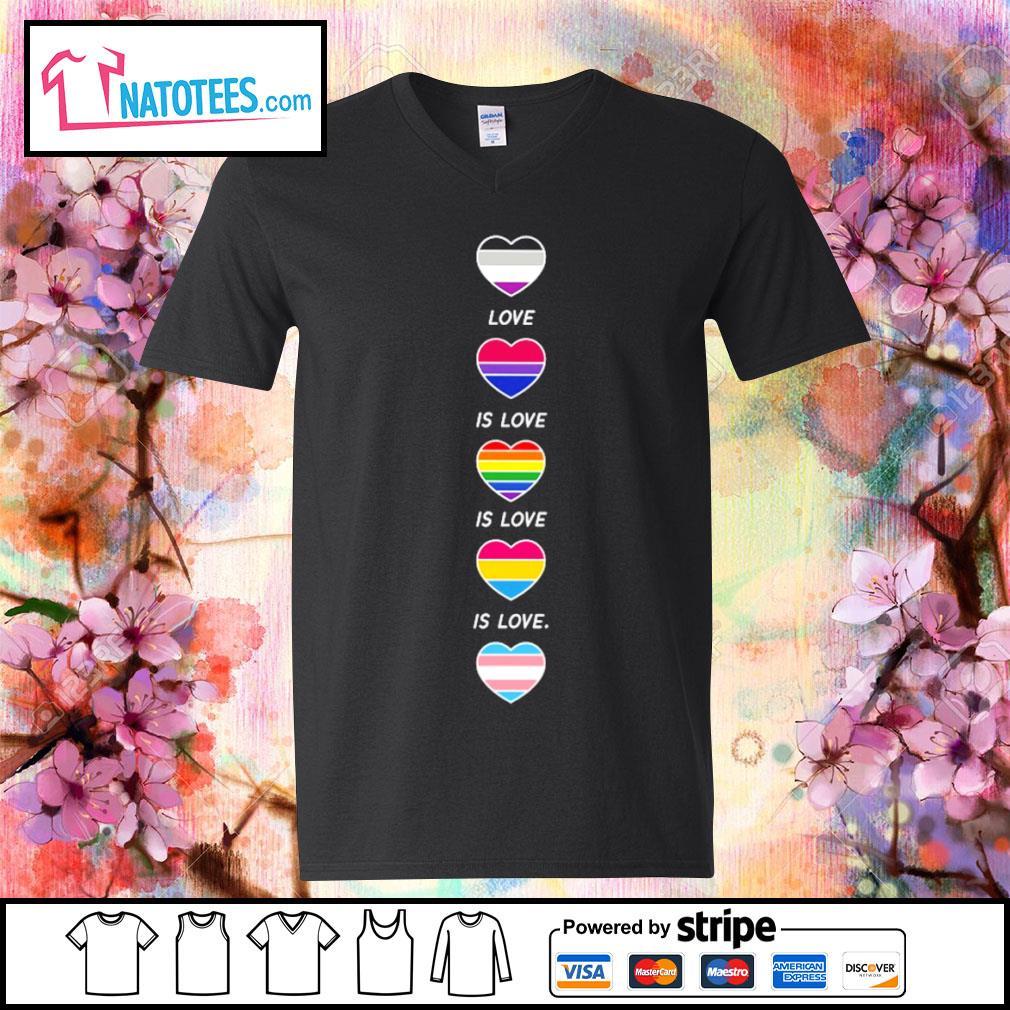 LGBT rainbow heart love is love s v-neck-t-shirt