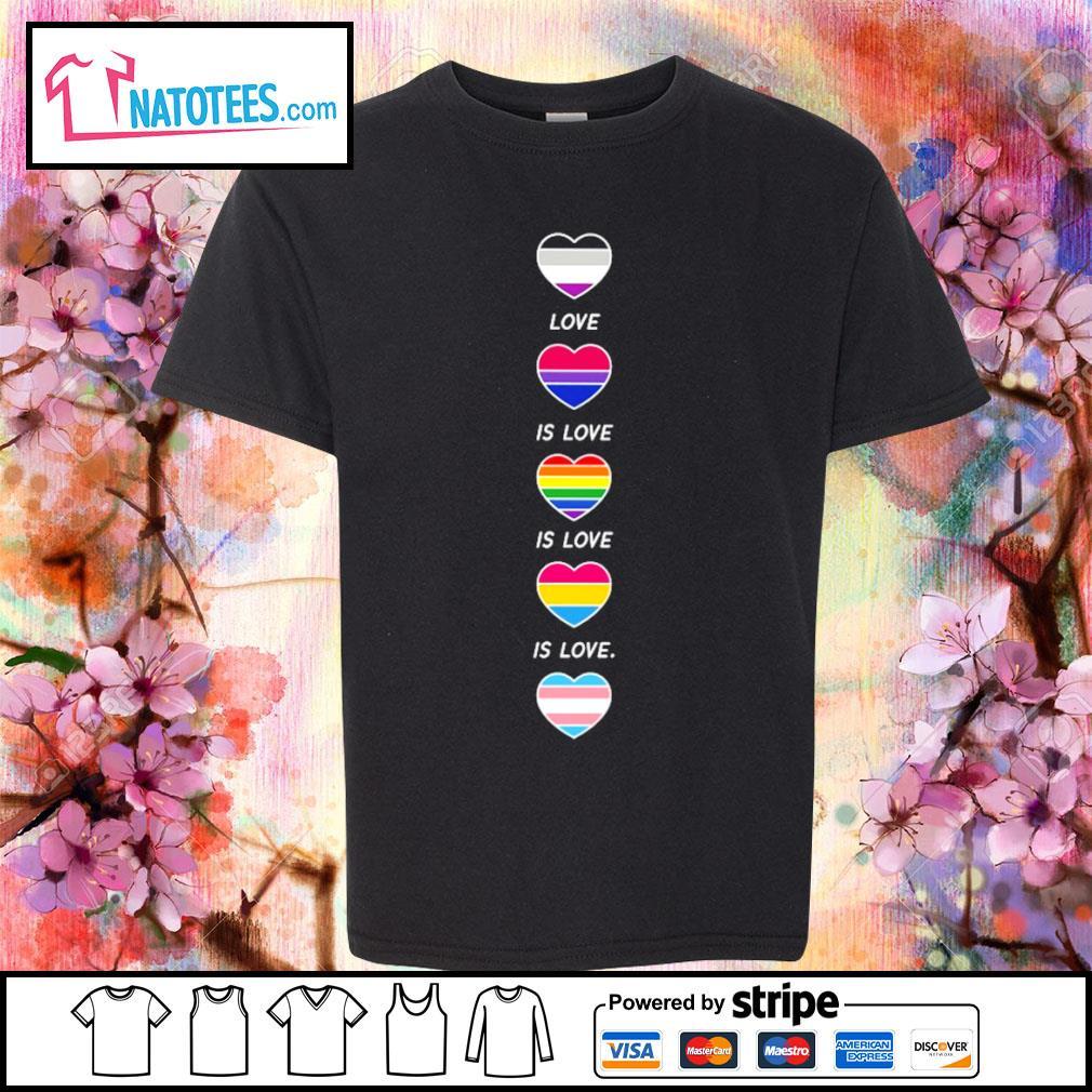 LGBT rainbow heart love is love s youth-tee