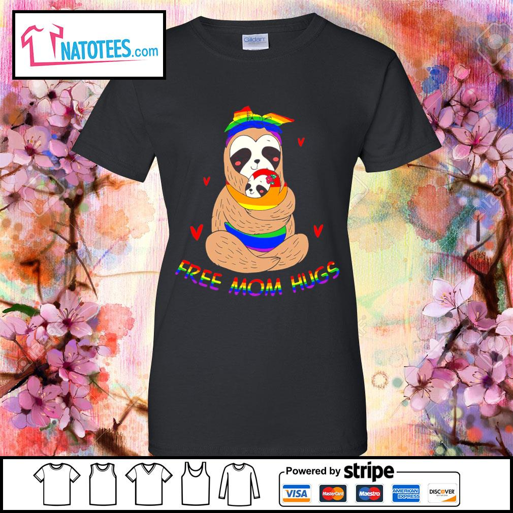 LGBT sloth free mom hugs s ladies-tee