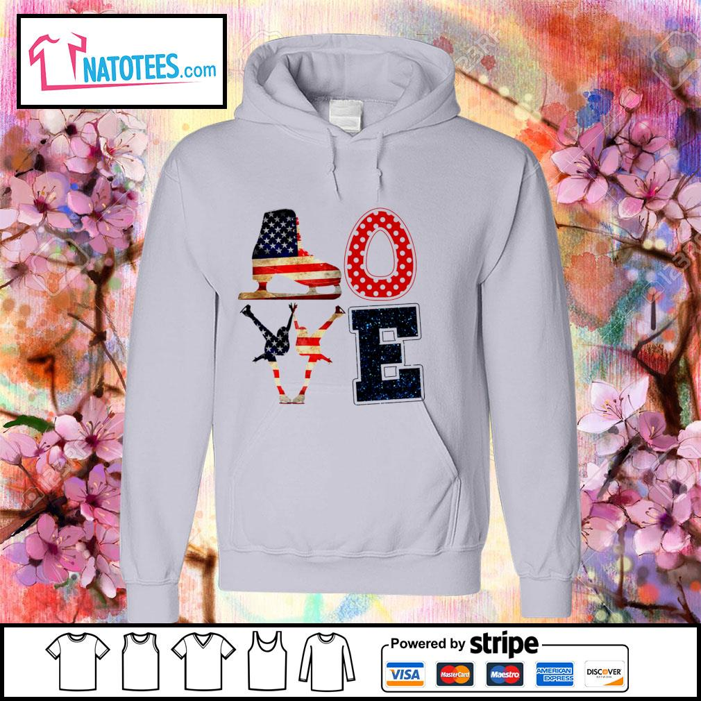 Love Figure Skating American flag 4th Of July Independence Day s hoodie