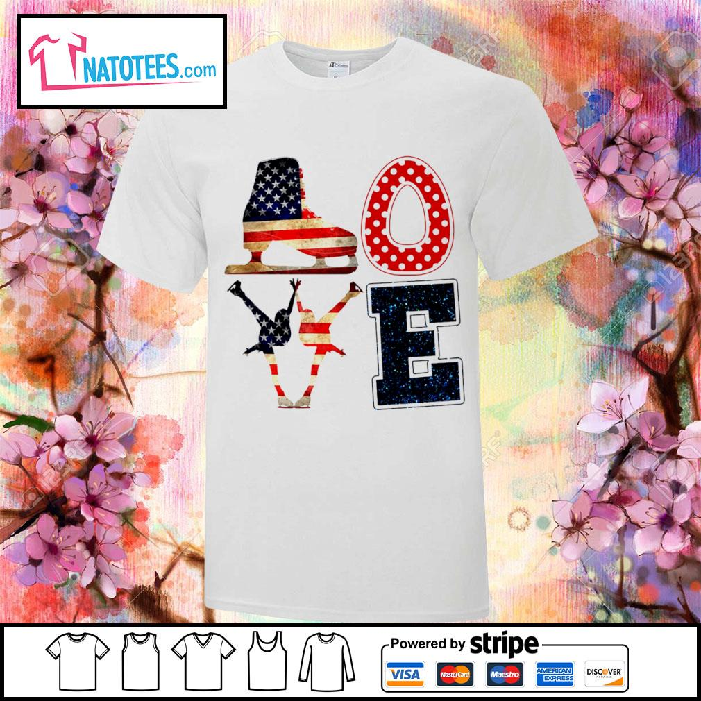 Love Figure Skating American flag 4th Of July Independence Day shirt