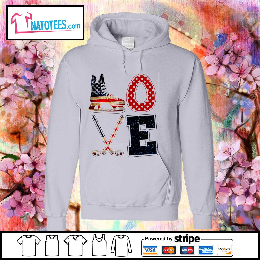 Love Ice Hockey American flag 4th Of July Independence Day s hoodie