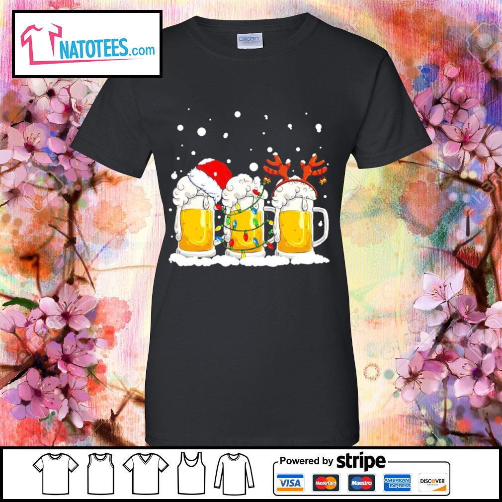 Beer Santa hat and Reindeer Christmas s ladies-tee