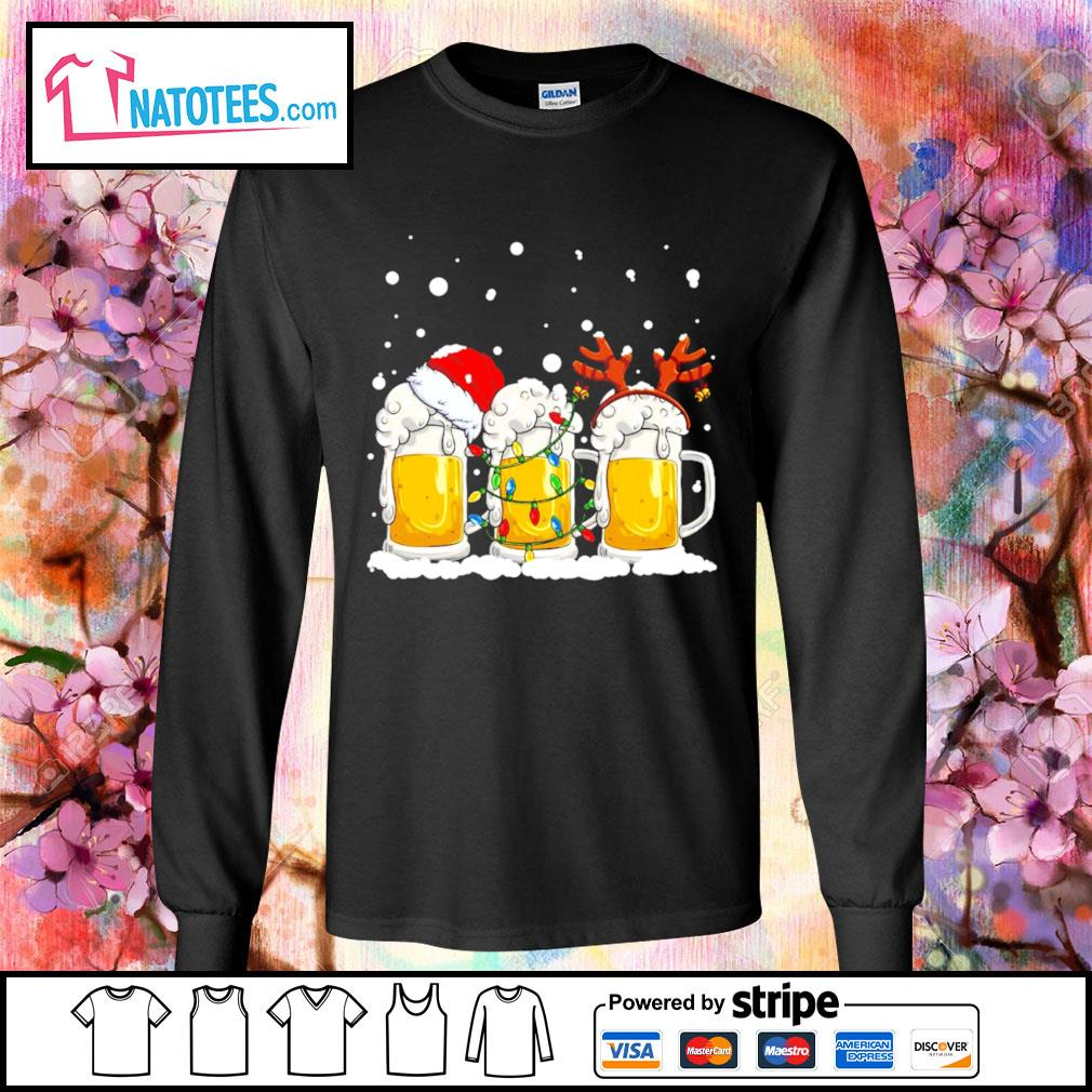 Beer Santa hat and Reindeer Christmas s longsleeve-tee