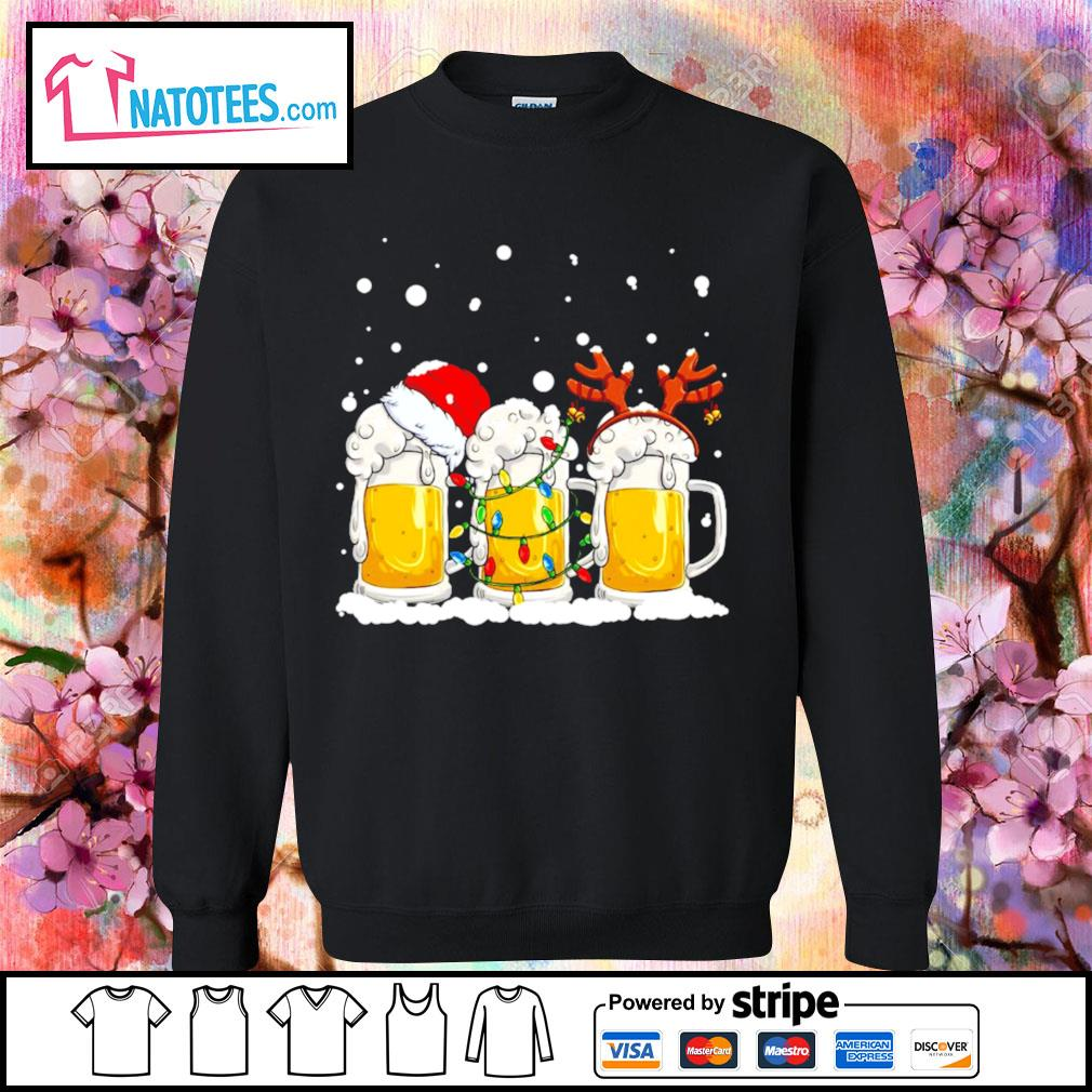 Beer Santa hat and Reindeer Christmas s sweater