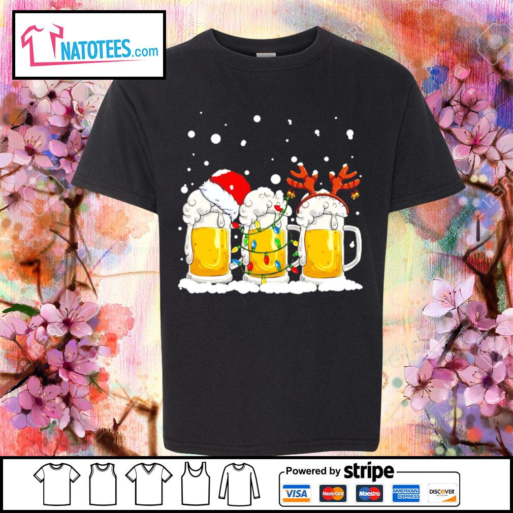 Beer Santa hat and Reindeer Christmas s youth-tee