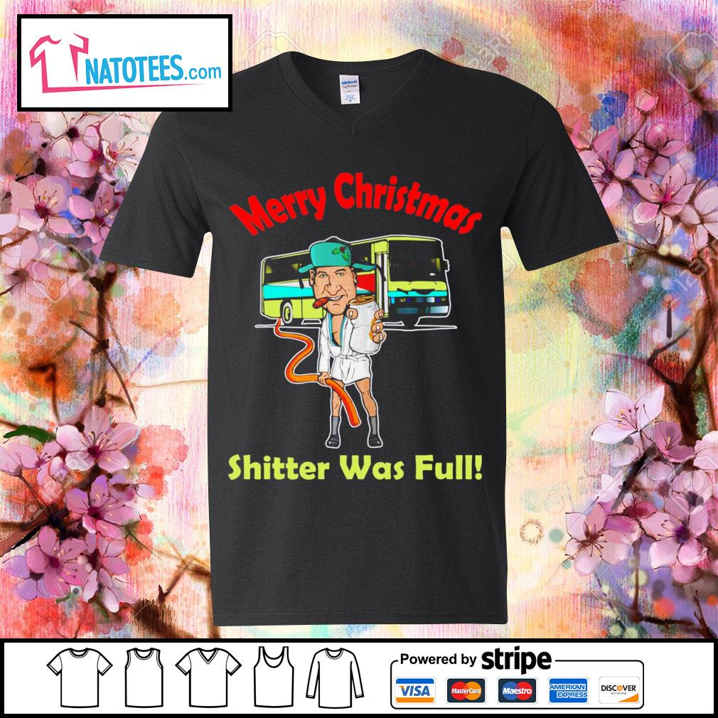 Cousin Eddie Merry Christmas shitter was full s v-neck-t-shirt