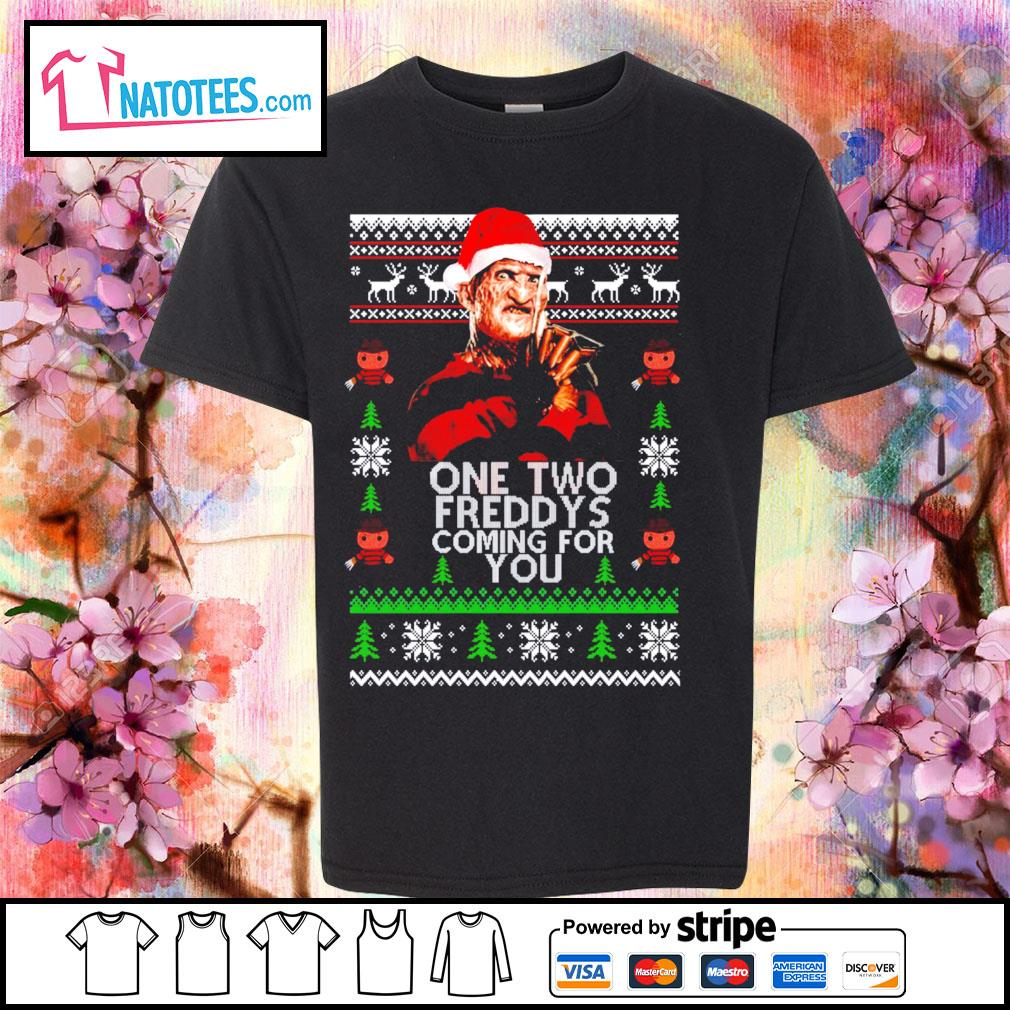 Freddy Krueger one two Freddy's coming for you ugly Christmas s youth-tee