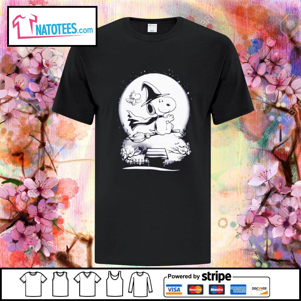 Peanuts Snoopy witch and Woodstock Halloween shirt