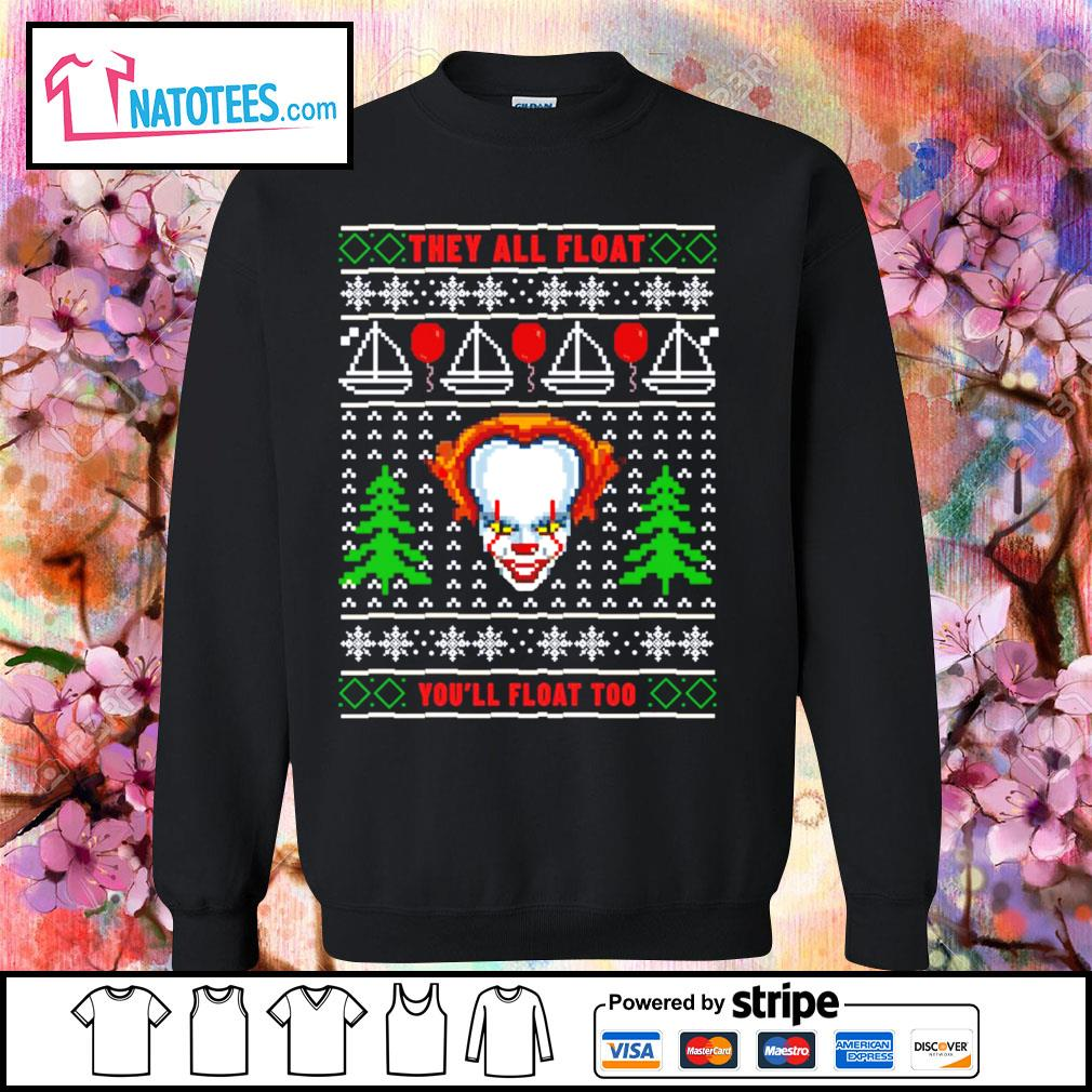 Pennywise they all float you'll float too ugly Christmas s sweater