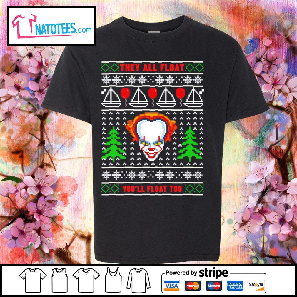 Pennywise they all float you'll float too ugly Christmas s youth-tee