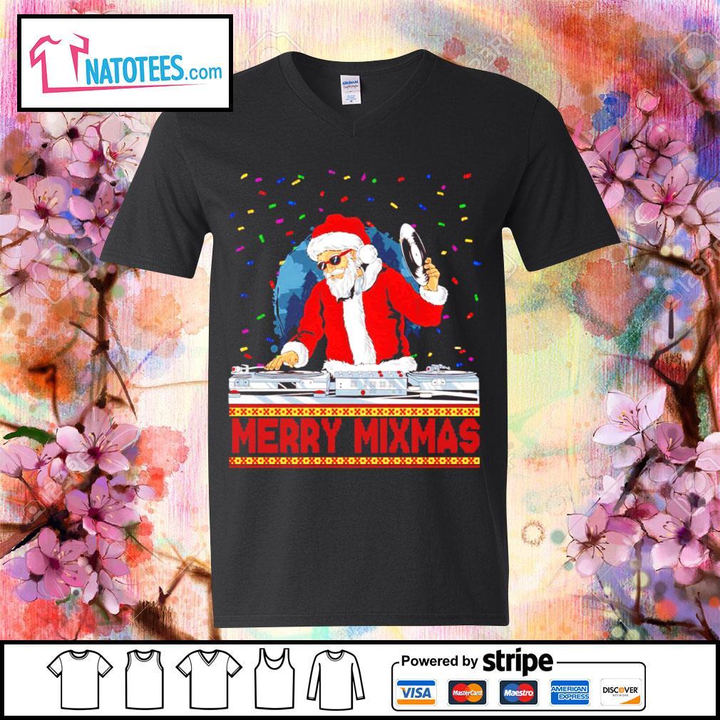 Santa Claus DJ Merry Mixmas ugly Christmas s v-neck-t-shirt