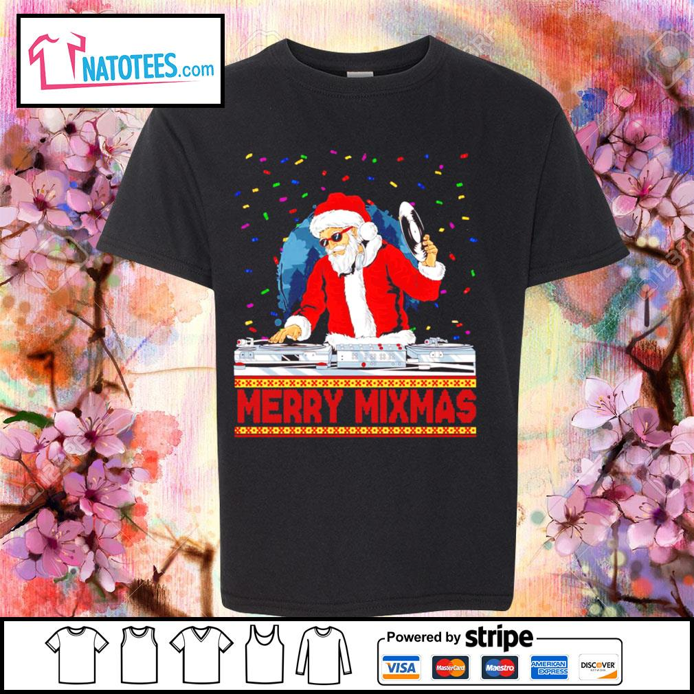 Santa Claus DJ Merry Mixmas ugly Christmas s youth-tee