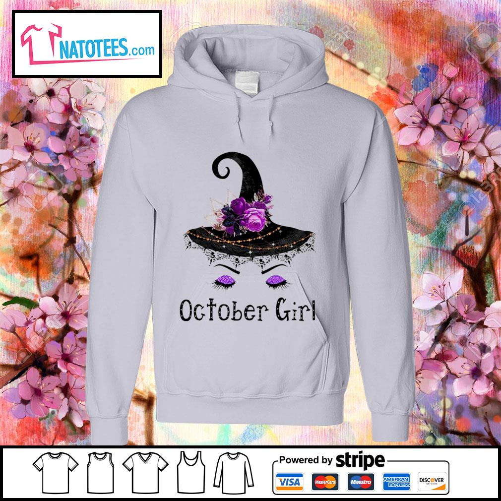 Witch and flowers October girl s hoodie