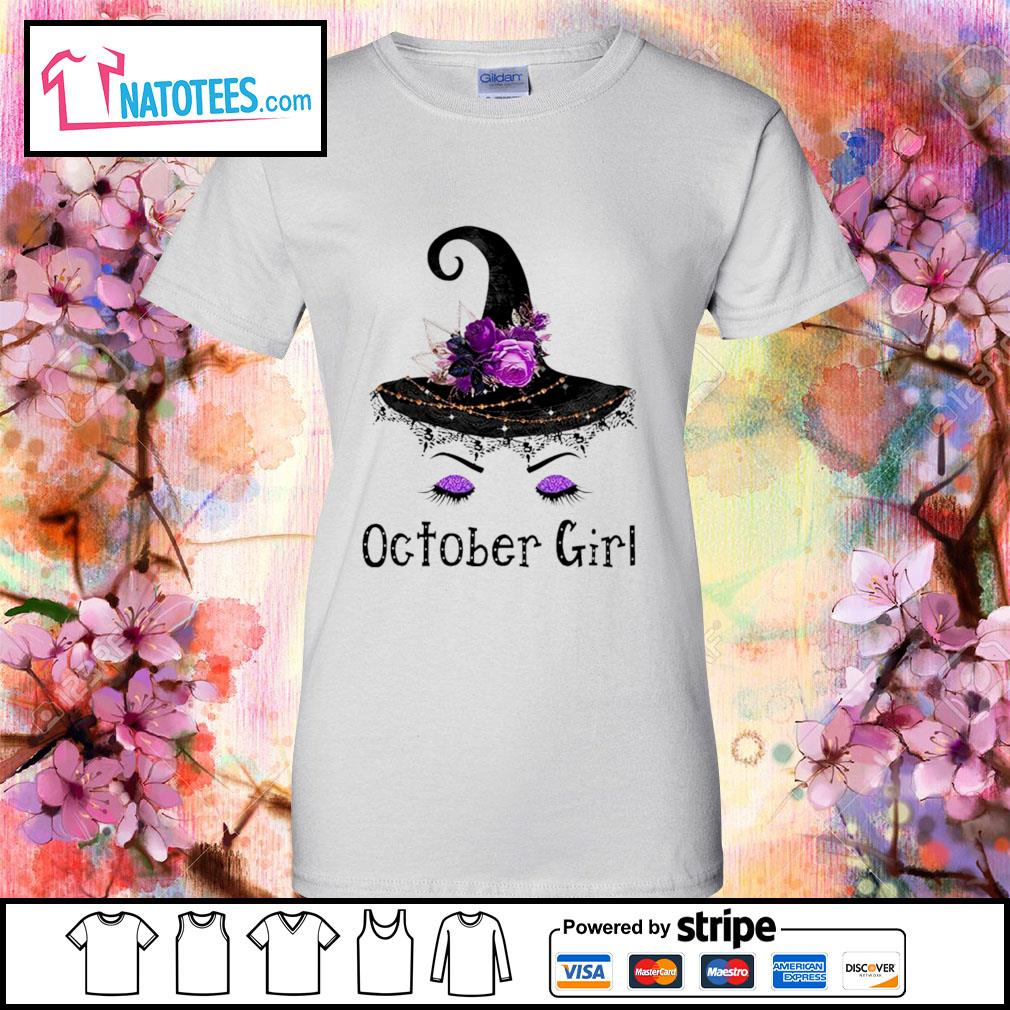 Witch and flowers October girl s ladies-tee