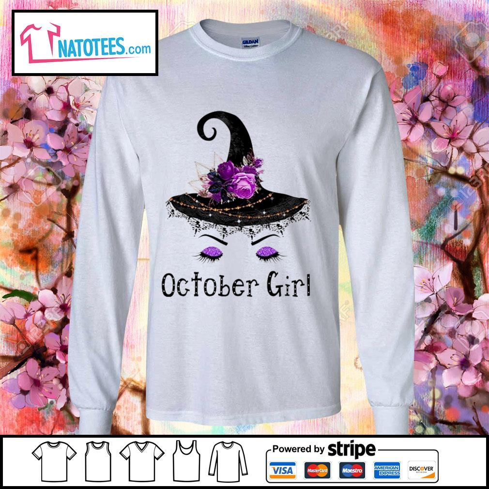 Witch and flowers October girl s longsleeve-tee