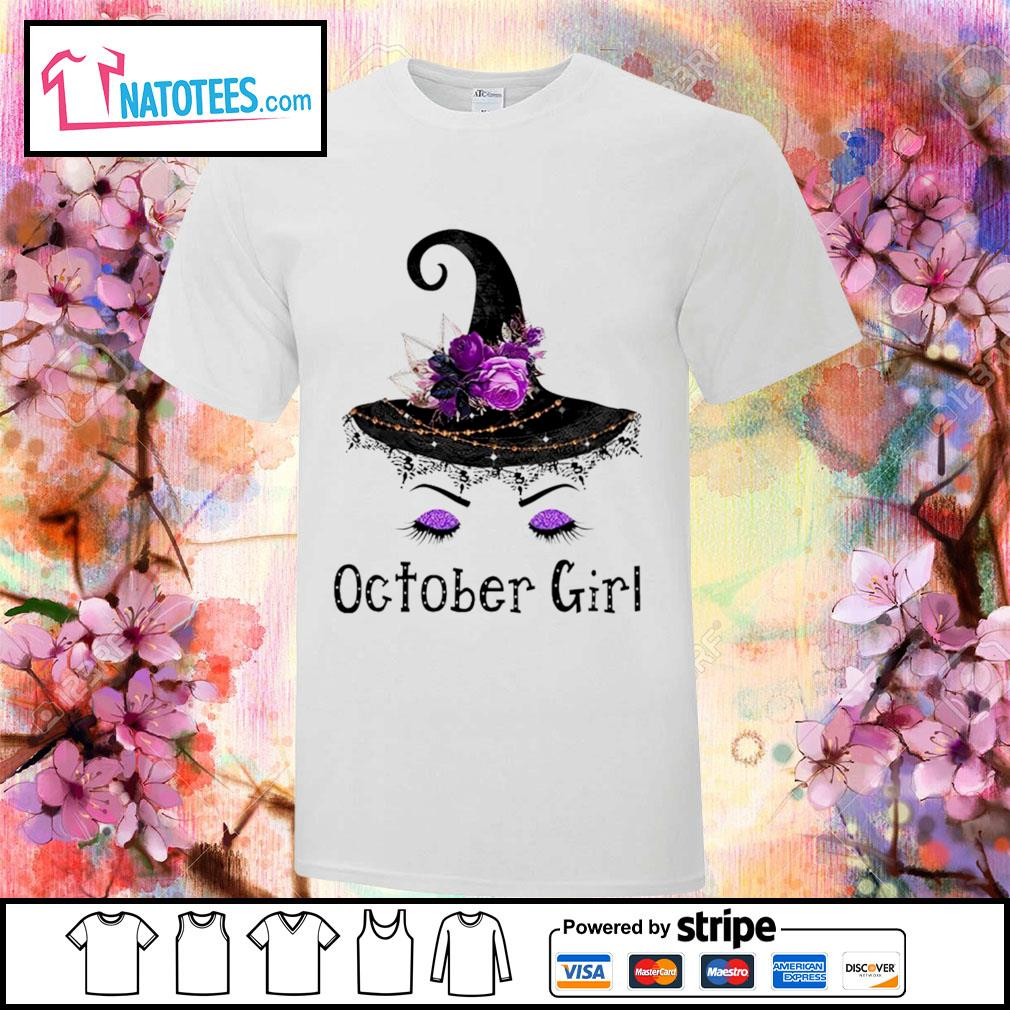 Witch and flowers October girl shirt