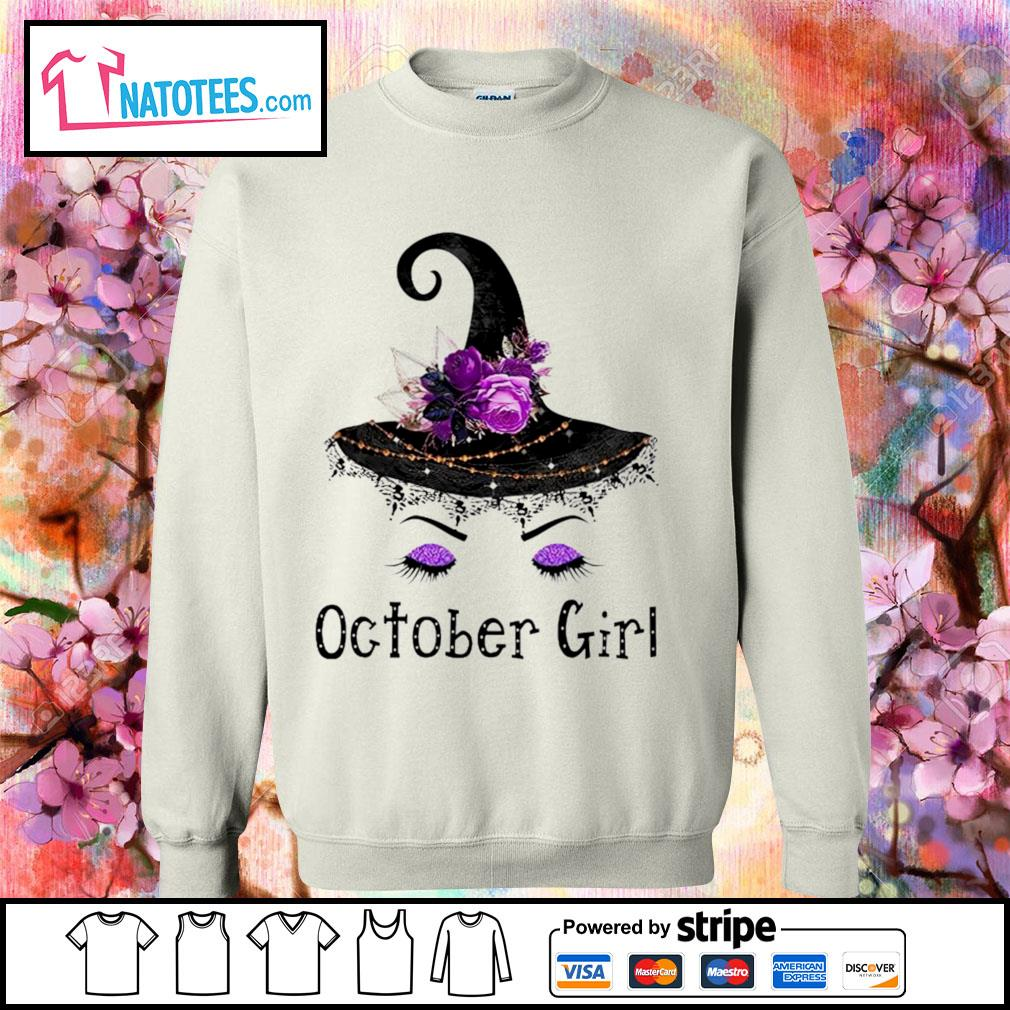 Witch and flowers October girl s sweater