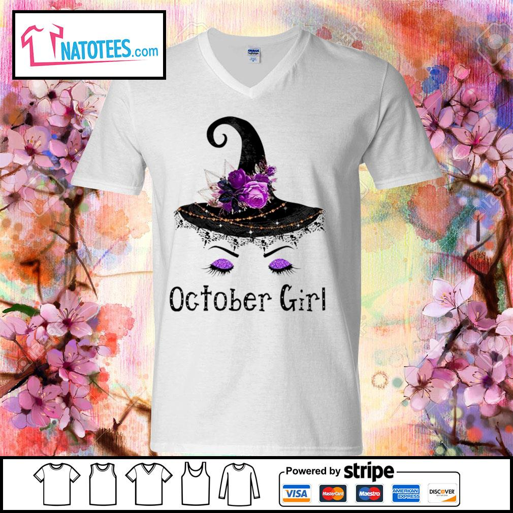 Witch and flowers October girl s v-neck-t-shirt