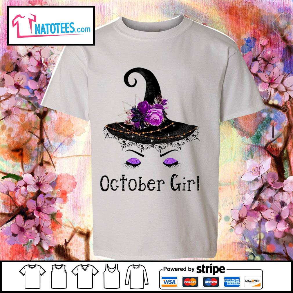 Witch and flowers October girl s youth-tee