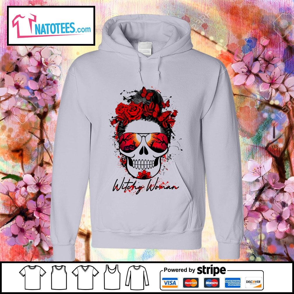 Witchy woman scary skull Halloween s hoodie