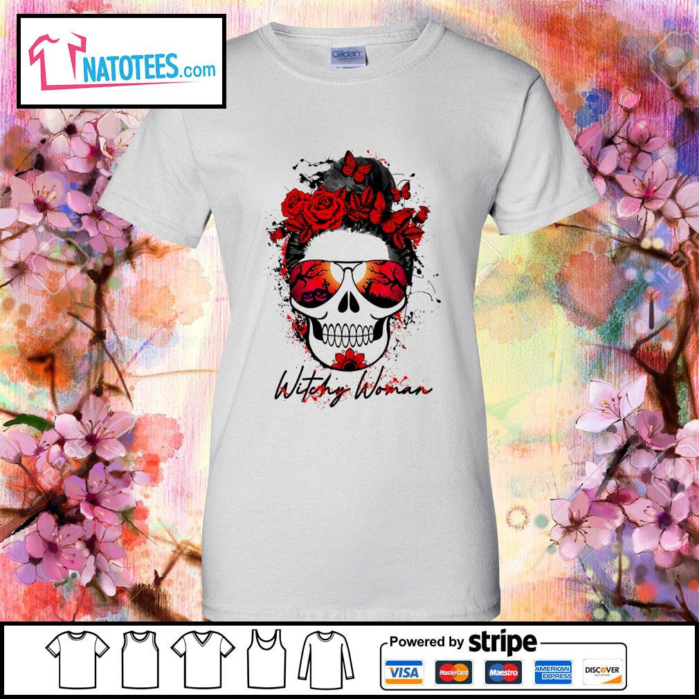 Witchy woman scary skull Halloween s ladies-tee