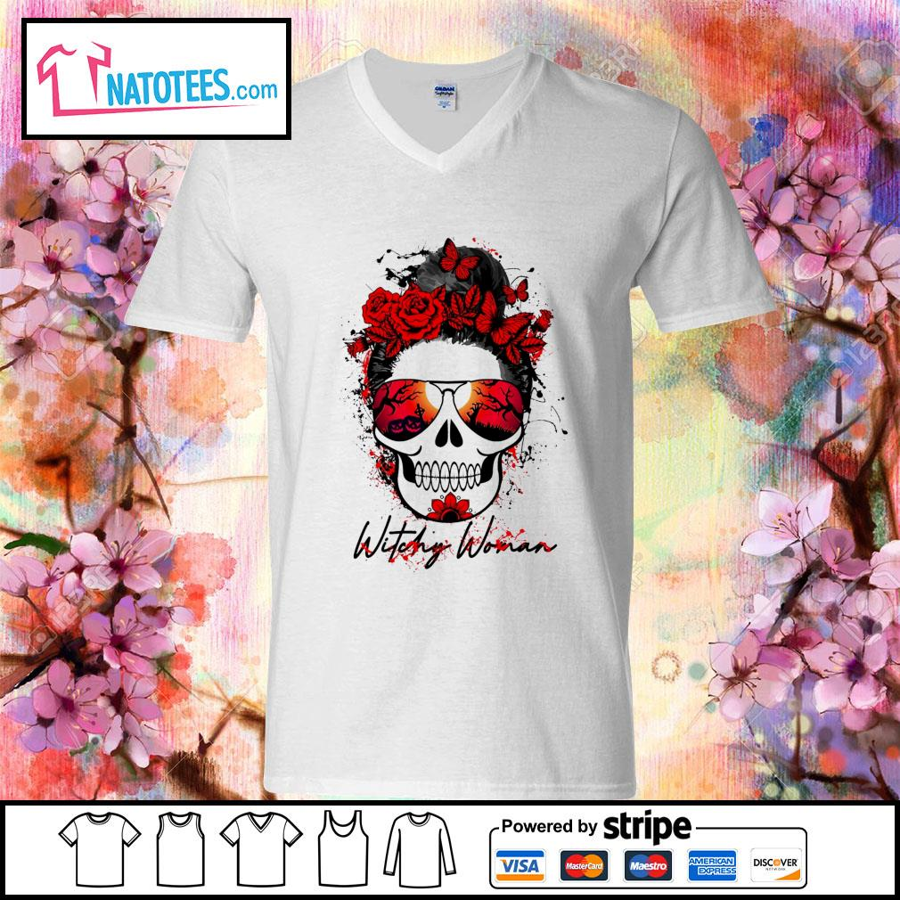 Witchy woman scary skull Halloween s v-neck-t-shirt