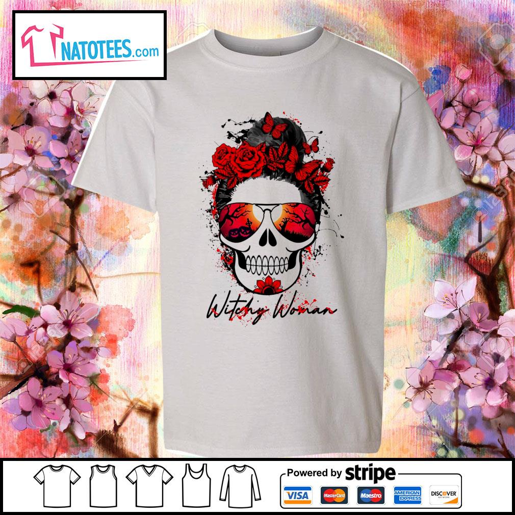 Witchy woman scary skull Halloween s youth-tee